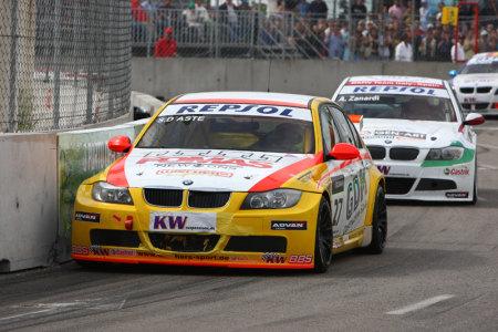 Stefano D'Aste in gara sulla sua vittoriosa BMW