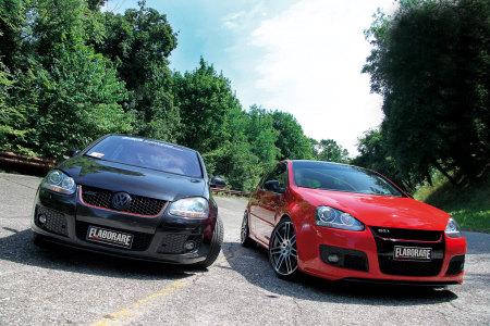 VW Golf V GTI TFSI 5 porte nera e VW Golf V GTI TFSI 3 porte rossa