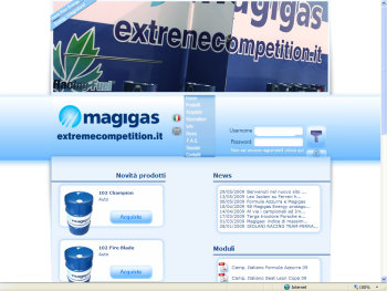 Homepage sito Magigas