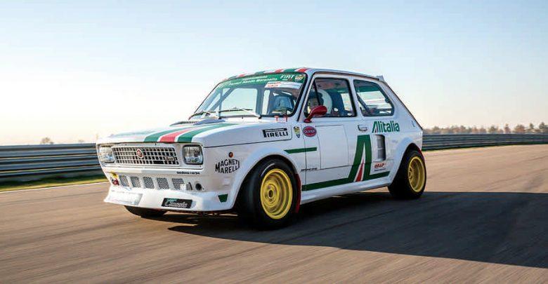 Fiat 127 Top elaborata auto storica test in pista con livrea Alitalia