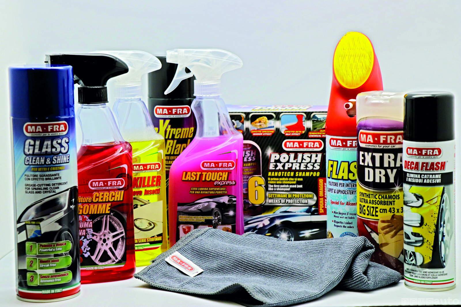 kit pulizia vettura MA-FRA per plastica, gomme, cruscotto, pelle